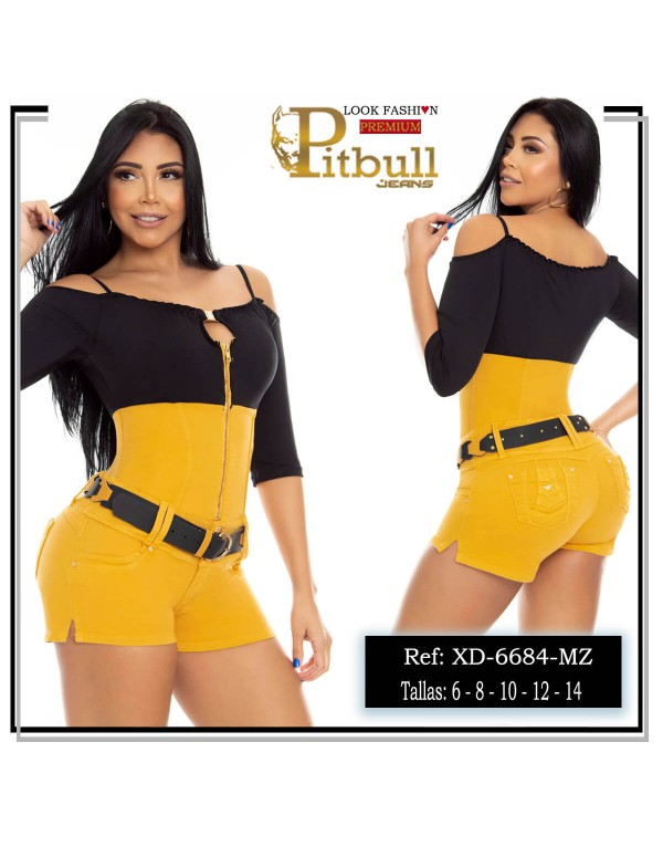 enterizo corto pitbull amarillo xd6684