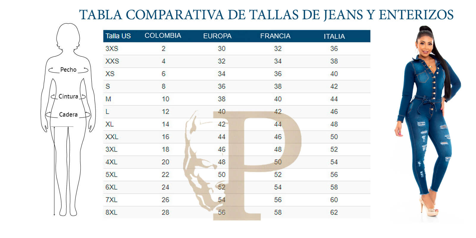 tabla de medidas de enterizos y pantalones colombianos